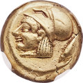 Ancients:Greek, Ancients: MYSIA. Cyzicus. Ca. 550-450 BC. EL sixth stater or hecte(10mm, 2.66 gm). NGC Choice XF 5/5 - 4/5....