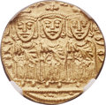 Ancients:Byzantine, Ancients: Constantine VI and Irene (AD 780-797), with Leo III,Constantine V, and Leo IV. AV solidus (19mm, 4.39 gm, 6h). NGC MS4/5 - 5...