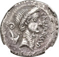 Ancients:Roman Republic, Ancients: Julius Caesar, as Imperator and Dictator (49-44 BC). AR denarius (18mm, 4.18 gm, 2h). NGC Choice AU 4/5 - 4/5, flan flaw....