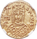 Ancients:Byzantine, Ancients: Irene, as sole Augusta (AD 797-802). AV solidus (19mm, 3.82 gm, 6h). NGC MS 5/5 - 5/5....