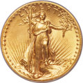 High Relief Double Eagles, 1907 $20 High Relief, Flat Rim, MS65 PCGS. CAC....