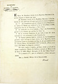 Military & Patriotic:Pre-Civil War, [Broadside] Decree Of The Congreso General Modifying The Law Of March 21, 1826, By Establishing A Separate Commandancy-General...