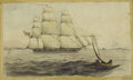 Paintings, 19th Century American School. Ships at Sail, circa 1850. Watercolor on paper. 6 x 9-1/2 inches (15.2 x 24.1 cm). Small i...