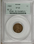 Lincoln Cents, 1922 No D 1C Strong Reverse VF35 PCGS....