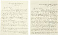Autographs:Military Figures, Two Civil War Letters With Abraham Lincoln Assassination Content. A lot of two letters from a Union soldier to his wife. The... (Total: 2 Items)