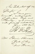 "Autographs:Statesmen, Andrew Jackson's Attorney General Benjamin F. Butler Autograph NoteSigned, ""B.F. Butler,"" one page, 5"" x 8"", New York C...(Total: 1 Item)"