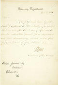 "Autographs:Statesmen, Secretary of the Treasury Salmon Chase Autograph Letter Signed,""S Chase,"" one page on Treasury Department letterhead, 6...(Total: 1 Item)"
