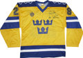 Hockey Collectibles:Others, Tomas Sandstrom Singed Replica Team Sweden Jersey. Tomas Sandstrom grew up in Sweden and played hockey for the NHL from 198...