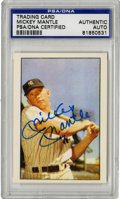 Autographs:Sports Cards, Mickey Mantle Signed Card, PSA Authentic. Classic image of the Mick as a young slugger has been adorned by a perfect 10/10 ...