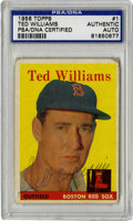 Autographs:Sports Cards, 1958 Topps Ted Williams #1 Signed Card, PSA Authentic. The mightylefty Ted Williams intimidated opposing hurlers with his ...