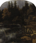 Fine Art - Painting, European:Antique  (Pre 1900), Circle of ALLAERT VAN EVERDINGEN (Dutch 1621-1675). Watermill ina Rocky Landscape . Oil on canvas. 43-1/2 x 37 inches (...