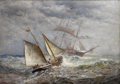 Fine Art - Painting, American, JAMES GALE TYLER (American 1855-1931). American Ships Meet atSea, 1903. Oil on canvas. 28 x 40 inches (71.1 x 101.6 cm)...