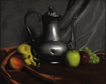 Fine Art - Painting, American, HERBERT E. ABRAMS (American 1921-2003). Still Life with Fruitand Teapot, 1960. Oil on Masonite. 16 x 20 inches (40.6 x ...