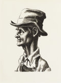 Prints, THOMAS HART BENTON (American 1889-1975). Portrait of Casy (from the Grapes of Wrath). Lithograph. 12 x 9 inches (30....