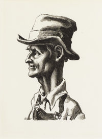 THOMAS HART BENTON (American 1889-1975) Portrait of Casy (from the Grapes of Wrath) Litho