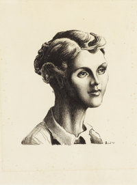 THOMAS HART BENTON (American 1889-1975) Portrait of Sharon Joad (from the Grapes of Wrath) Lithograp