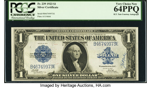H.T. Tate Courtesy Autograph Fr. 239 $1 1923 Silver | Lot #22680 ...
