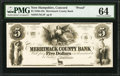 Obsoletes By State:New Hampshire, Concord, NH- Merrimack County Bank $5 as G46 Proof. ...