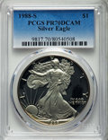 Modern Bullion Coins, 1988-S $1 Silver Eagle PR70 Deep Cameo PCGS. PCGS Population: (1491). NGC Census: (1080). CDN: $275 Whsle. Bid for problem-...