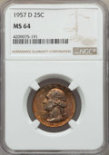 Washington Quarters, 1957-D 25C MS64 NGC. This lot will also include a: 1962-D 25C MS66NGC.... (Total: 2 coins)