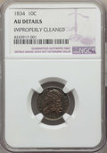 Bust Dimes: , 1834 10C Small 4 -- Improperly Cleaned -- Details NGC. AU. NGC Census: (15/211). PCGS Population: (20/151). AU50. Mintage 6...