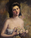Fine Art - Painting, American, CHARLES AYER WHIPPLE (American 1859-1928). Portrait of a Young Woman with Flowers, 1911. Oil on canvas. 24 x 20-1/4 inch...