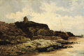 Fine Art - Painting, European:Modern  (1900 1949)  , Attributed to ALFRED DE BREANSKI (British 1852-1928). HeyshamAbbey, Morecambe Bay. Oil on canvas. 20-1/4 x 30-1/4 inche...