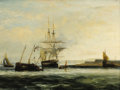 Paintings, Attributed to GEORGE CHAMBERS (British 1803-1840). Off the South Coast. Oil on panel. 20 x 27 inches (50.8 x 68.6 cm). ...