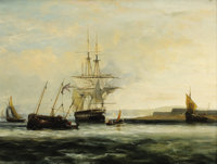 Attributed to GEORGE CHAMBERS (British 1803-1840) Off the South Coast Oil on panel 20 x 27 inches