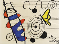 ALEXANDER CALDER (American, 1898-1976) Untitled, Butterfly on Spiral, 1966 Gouache on paper 22-3/