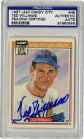 Autographs:Sports Cards, 1987 Leaf Candy City Ted Williams #H5 Signed Card, PSA Authentic.Regarded as one of the most esteemed Americans, let alone...