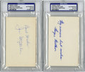 Autographs:Letters, Wayne Millner and Joe Stydahar Signed Index Cards PSA Authentic Lotof 2. Two members of the NFL All-Decade Team, both Wayn...