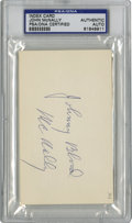 """Football Collectibles:Balls, John McNally Single Signed Index Card PSA/DNA. The 3x5"""" index card carries the signature of John """"Johnny Blood"""" McNally in ..."""