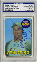 Autographs:Sports Cards, 1969 Topps Reggie Jackson #260 Signed Card, PSA Authentic. Mr. October's exceptional signature has been penned on the surfa...