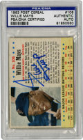 Autographs:Sports Cards, 1963 Post Cereal Willie Mays Signed Card, PSA Authentic. Thebrilliant hand-cut card from the 1963 Post Cereal issue that w...