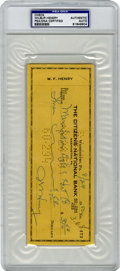 Football Collectibles:Balls, Wilbur Henry Signed Check PSA Authentic. Henry had the swift reflexes of a man-eating tiger. Good-natured, easy-going and p...