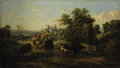 Fine Art - Painting, European, JOSEF WENGLEIN (German 1845-1919). Extensive Landscape with Cattle, circa 1889. Oil on canvas. 20 x 42 inches (50.8 x 10...