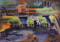 Fine Art - Painting, American:Modern  (1900 1949)  , ERLE LORAN (American 1905-1999). Untitled, Docks, 1944.Watercolor and gouache on paper. 15-3/4 x 22-5/8 inches (40.0 x ...