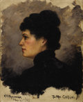 Paintings, HERMAN N. HYNEMAN (Dutch, 1859-1907). Profile of a Lady in Black, 1885. Oil on canvas board. 10 x 8 inches (25.4 x 20.3 ...