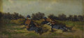 Fine Art - Painting, European, Attributed to LADISLAV BENESCH (Austrian 1845-1922). SoldiersTaking Cover. Oil on canvas board. 3-1/2 x 7 inches (8.9 x...