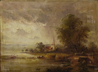 Ascribed to JOHN CONSTABLE (British, 1776-1837) View of a Cathedral, 1798 Oil on cradled wood board<