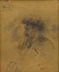 Works on Paper, VLADIMIR EGOROVITCH MAKOVSKY (Russian 1846-1920). Portrait of V.A. Beklemishev, 1899. Ink and pencil on paper. 9-1/4 x 8...
