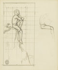 Fine Art - Painting, American:Modern  (1900 1949)  , ROCKWELL KENT (American 1882-1971). Boy on a Cliff, circa1945. Pencil on paper. 6 x 5-1/4 inches (15.2 x 13.2 cm). Stam...