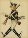 Fine Art - Painting, European:Modern  (1900 1949)  , ALEXANDRE NIKOLAEVICH BENOIS (Russian-French 1870-1960).Soldier. Watercolor and pencil on paper. 12 x 9 inches (30.5x ...
