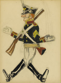ALEXANDRE NIKOLAEVICH BENOIS (Russian-French 1870-1960) Soldier Watercolor and pencil on paper 12