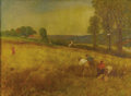 Fine Art - Painting, European:Modern  (1900 1949)  , FRENCH SCHOOL (Twentieth Century). Boys Working in a Wheat Field. Oil on canvas. 22 x 30 inches (55.9 x 76.2 cm). Un...
