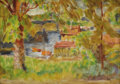Fine Art - Painting, American:Modern  (1900 1949)  , AMERICAN SCHOOL (Twentieth Century) . The Boathouse, 1916.Oil on panel. 8-3/4 x 12 inches (22.2 x 30.5 cm). Initial...