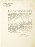 Autographs:Military Figures, 1829 Broadside. Law of the Congreso General Granting to JuánDavis Bradvurn [John Davis Bradburn] the Exclus...