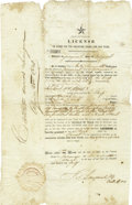 Miscellaneous:Ephemera, License to Carry on the Coasting Trade for One Year ...