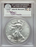 Modern Bullion Coins, 2011-S $1 Silver Eagle, 25th Anniversary, First Strike, John M. Mercanti Signature, MS70 PCGS. PCGS Population: (8183). NG...